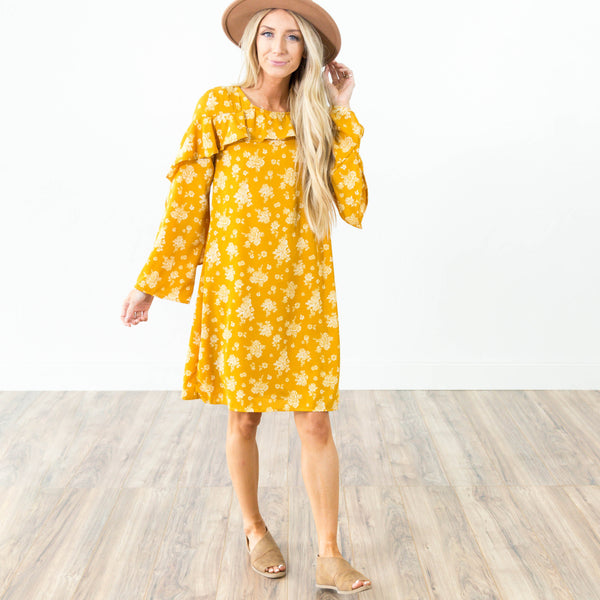 Gwen Ruffle Dress in Mustard