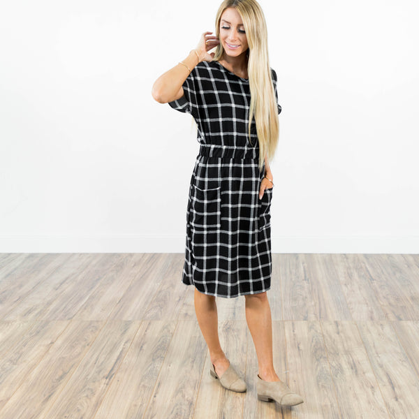 Theo Printed Dress in Black