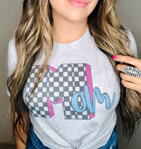 50% polyester, 25% cotton, and 25% rayon material , so this tee is super soft. It's a heathered grey color with a large M for MTV inspired and it spells out the word Mom. The large M is checkered black and white with purple and the letters o and m are in a light blue color. Really cute and perfect for mom.