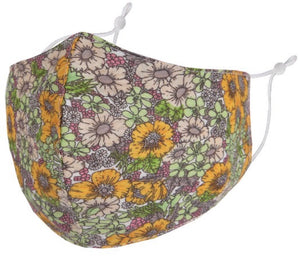 Washable and reusable cotton face masks with adjustable straps. One size fits all. Non-medical. Anti-dust, anti-fog, anti-spray, and anti-pollen. Small daisy flower print.