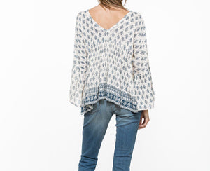 Indigo long bell sleeve top