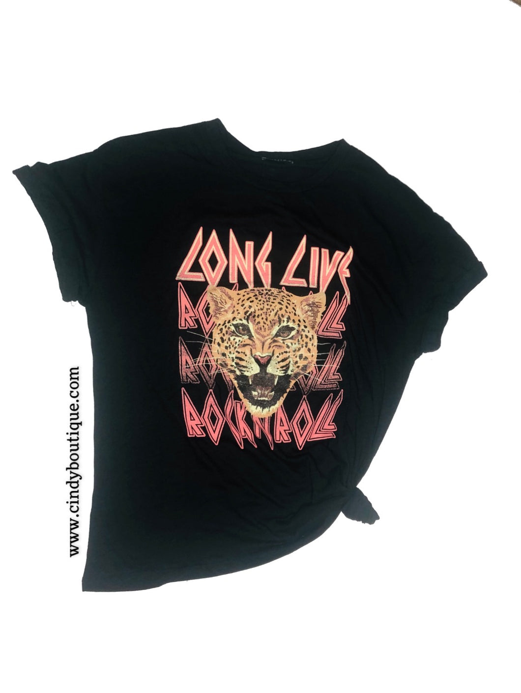 Black cotton Rocker tee with pink letters that say Long Live Rock n roll. Short sleeve tee with rolled sleeve.
