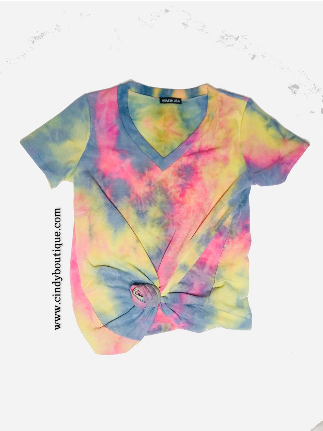 Tie dye pastel colors (pink, blue, yellow, green) cotton tee with short sleeve. 95% polyester and 5% spandex.