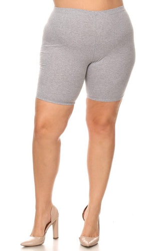 Cotton solid gray high waist shorts with elastic waist. Approximate length 17.5 inches from waist to hem. Waist 32 inches in an XL.