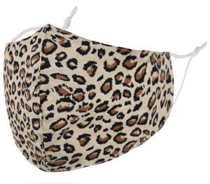 Washable and reusable cotton face masks with adjustable straps. One size fits all. Non-medical. Anti-dust, anti-fog, anti-spray, and anti-pollen. This print is leopard animal print.