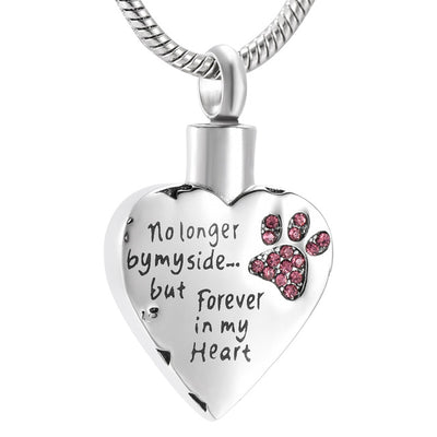"""No longer by my side... but Forever in my heart"" Paw Print Cremation Necklace"