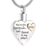 """NO LONGER BY MY SIDE, BUT FOREVER IN MY HEART"" CREMATION NECKLACE"