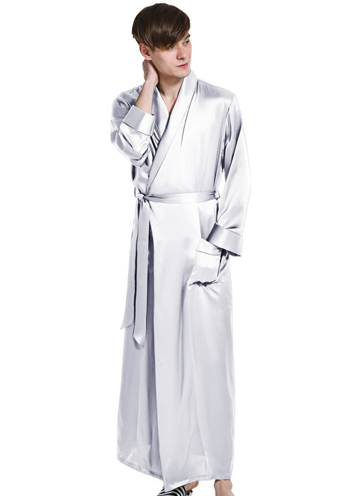 Mens Pure Silk Long Dressing Gown Bathrobe Pjs - OOSilk — OOSILK