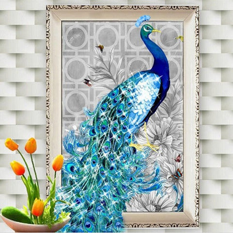 "5D Beautiful Blue Peacock diamond artwork Kit - 12.5""x17.71"" - DIY Diamond Art - Artsndecors"