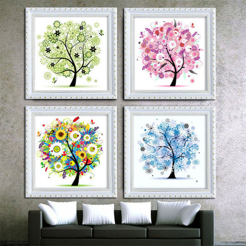 "5D Four season trees diamond artwork Kit - 11.7""x11.7"" - DIY Diamond Art - Artsndecors"