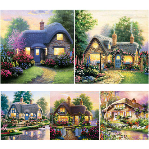 "5D Country house diamond artwork Kit - 11.7""x11.7"" - DIY Diamond Art - Artsndecors"