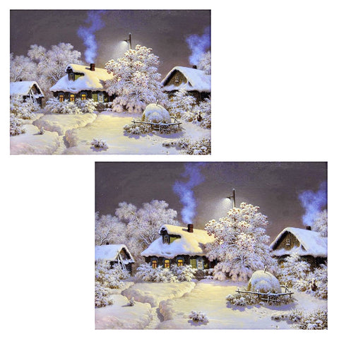 5D Snow house diamond artwork Kit - Two sizes - DIY Diamond Art - Artsndecors