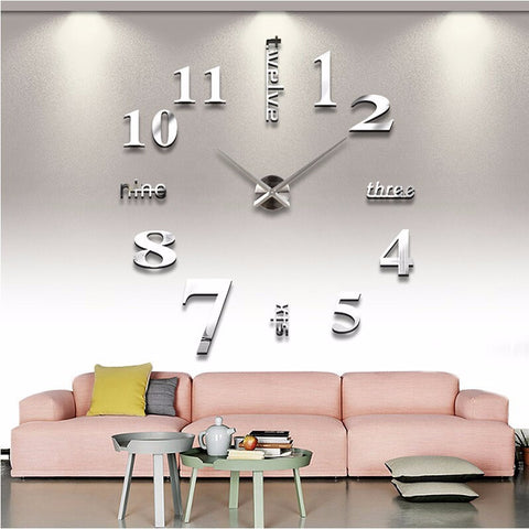 3D Acrylic Mirror Modern Numbers & Letters DIY Wall Clock - Large - Artsndecors