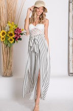 Stripe Print Slit Overlay Wide Leg Pants