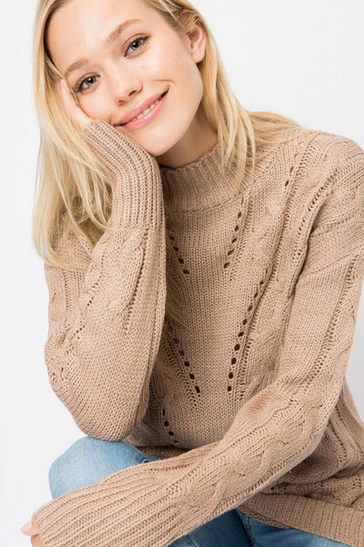 Chunky Cable Knit Sweater with Eyelets