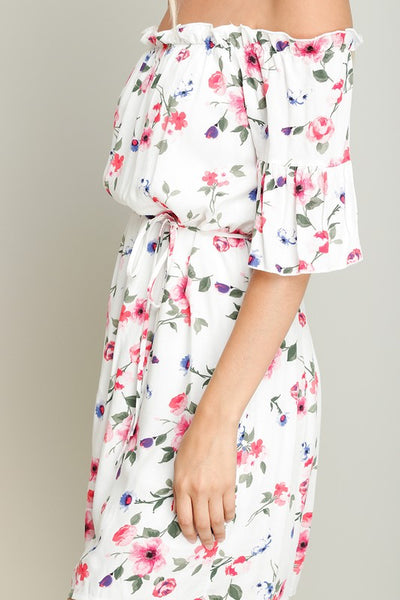 Flower Print Off Shoulder Bell Sleeve Dress with Lining and Ruffle Trim