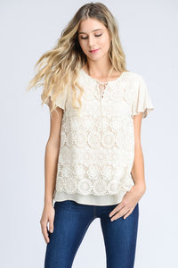 Lace Overlay Lace Up Flutter Short Sleeve Top