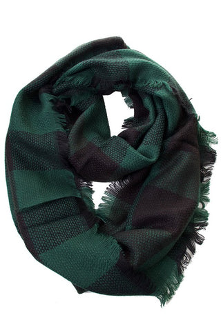 Green Buffalo Check Infinity Scarf