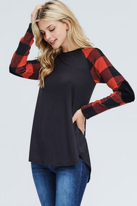 Long Sleeve Plaid Raglan Sleeve Solid Top with Elbow Patches