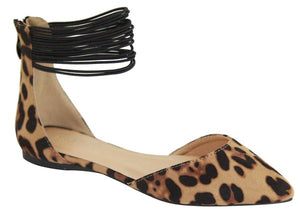 Leopard Flats with Ankle Straps