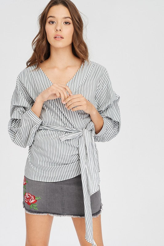 Poplin Striped Wrap Top
