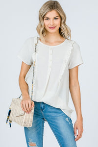 Button Front Round Neck Ruffle Detail Top