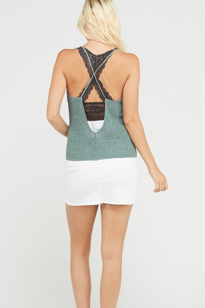 Low Cut V-Neck Sweater Tank Top