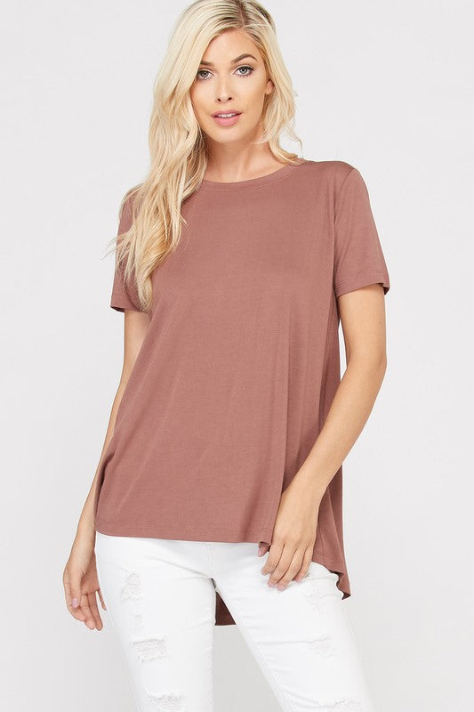 Short Sleeve Pleated Back Bamboo T-Shirt