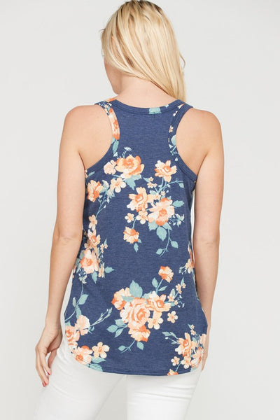 French Terry Foral Print Racer Back Tank Top