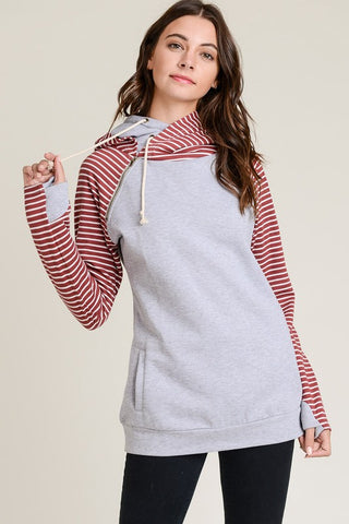 Striped Sleeves Color Block French Terry Hoodie Sweatshirt with Zipper Neck and Hidden Thumbhole