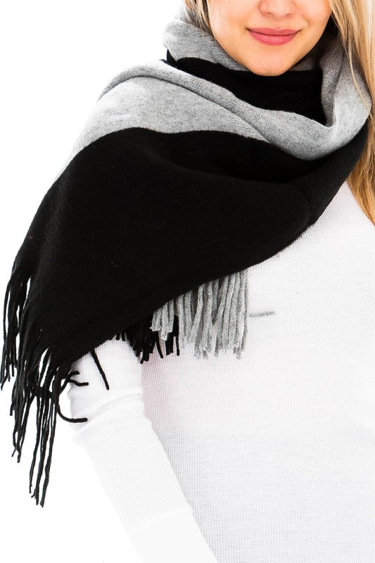 Two Toned, Fringed Knit Regular Rectangular Scarf