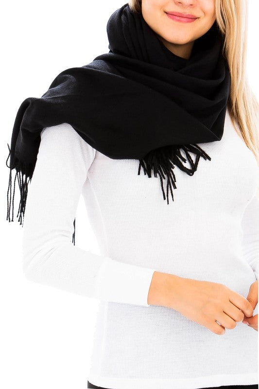 Classic Soft Brushed Cashmere Oblong Weave Scarf