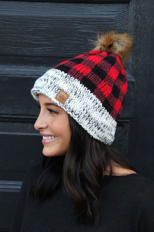 Red Buffalo Plaid Fleece Lined Knit Beanie with Pom Accent
