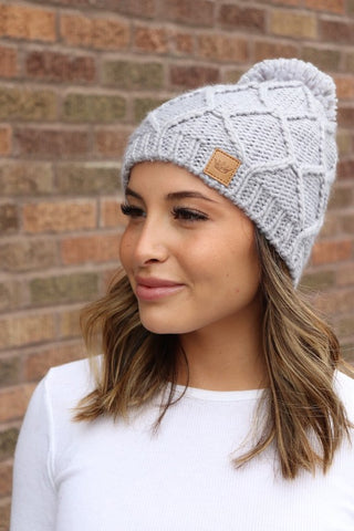 Fleece Lined Knit Hat with Pom Accent