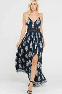 Floral Print Lace Waistband Lined Maxi Dress