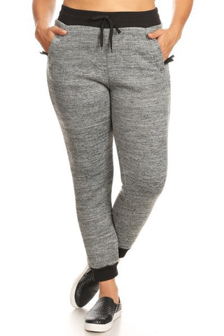 Curvy Girl Soft Fur Lined Jogger Sweatpants with Drawstring Waist