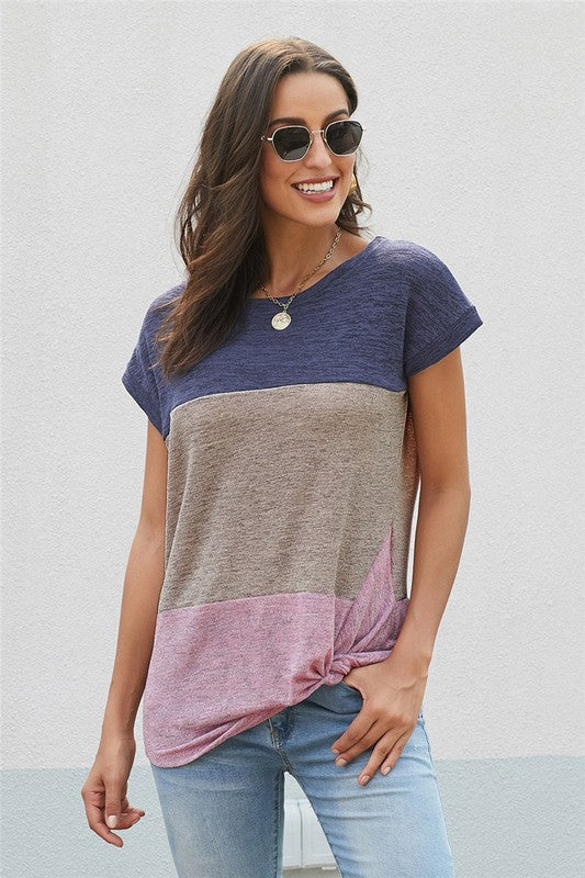 Colorblock Top with Twist Effect - Navy