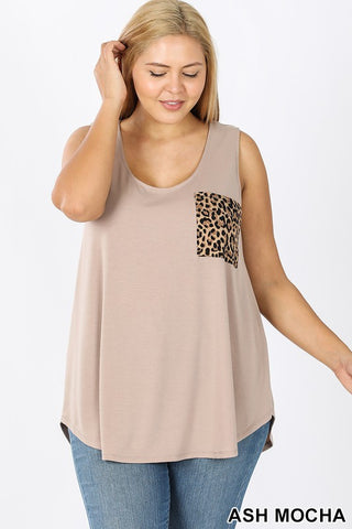 Curvy Girl Sleeveless Leopard Print Pocket Top