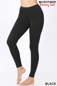 Brushed Microfiber Full Length Leggings - Buttery Soft