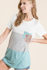 Short Sleeve Sequin Pocket Trim Colorblock Top