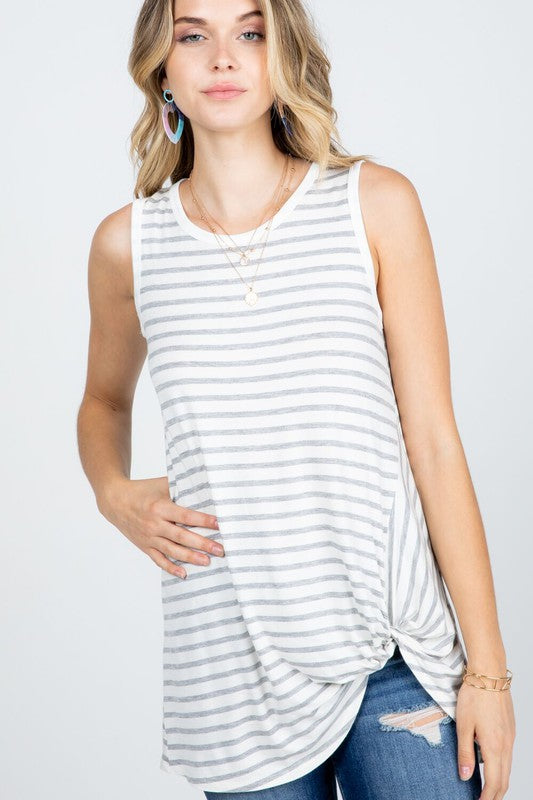 Stripe Tank with Front Twist Detail