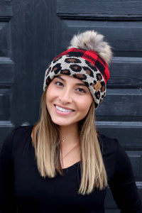 Buffalo Plaid Beanie with Cuffed Leopard Trim