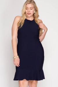 Sleeveless Textured Bodycon Mermaid Trumpet Midi Dress
