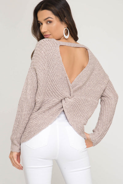 Long Sleeve Sweater with Back Twist Detail