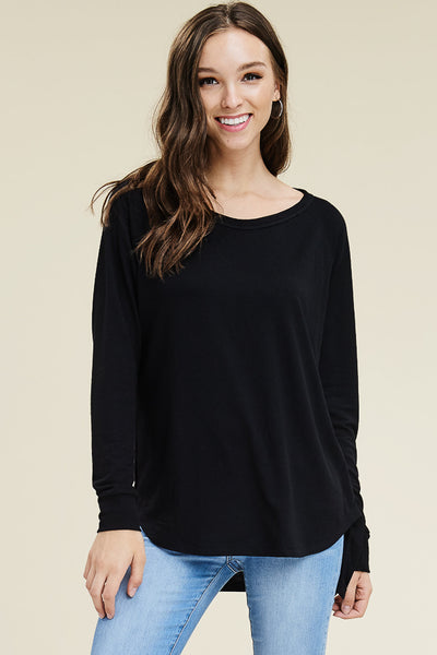 Round Neck, Side Buttons, Long Sleeve, High & Low, Rayon Terry Pull Over Knit Top