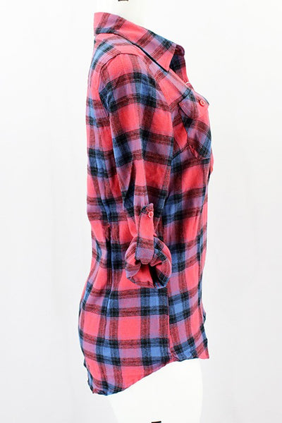 Rolled Up Sleeve Flannel Plaid Shirt