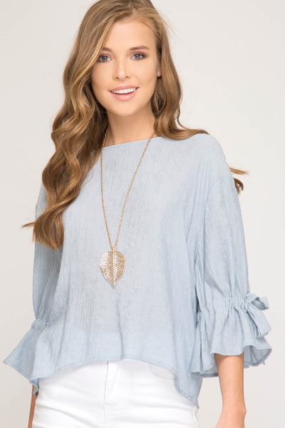 Three Quarter Sleeve Woven Top with Ribbon Tie Detail on Arms