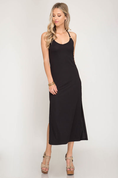 Rib Knit Cami Midi Dress with O-Ring and Side Slits
