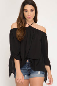3/4 Sleeve Off The Shoulder Woven Top with Sleeve Ties