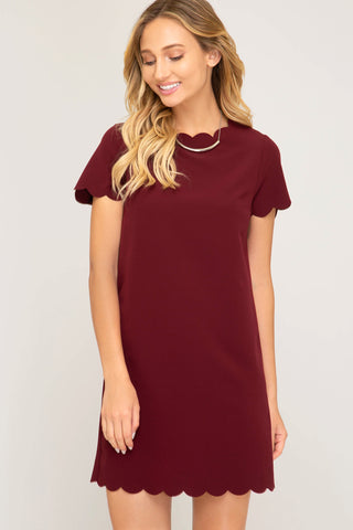Half Sleeve Woven Dress with Scalloped Hems